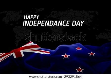 Happy Independence Day New Zealand flag and World Map background - stock photo