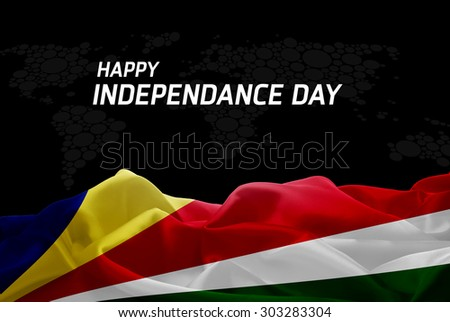 Happy Independence Day Seychelles flag and World Map background