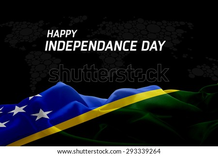 Happy Independence Day Solomon Islands flag and World Map background