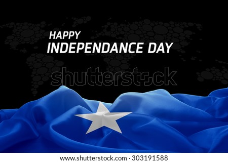 Happy Independence Day Somalia flag and World Map background - stock photo