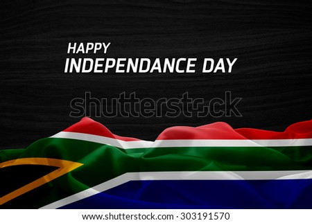 Happy Independence Day South Africa flag and wood background - stock photo