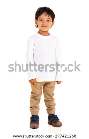 happy indian boy standing isolated on white background  - stock photo