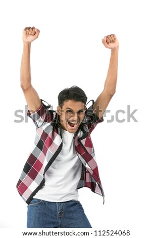 Happy Indian man celebrating with arms up. Isolated on white background. - stock photo
