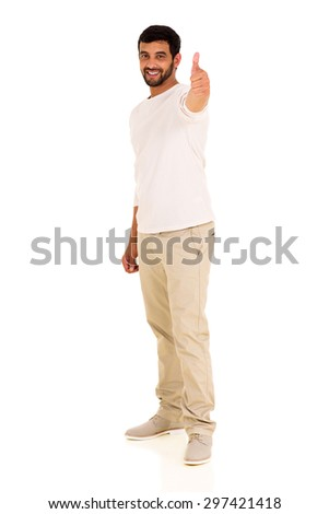 happy indian man giving thumb up on white background - stock photo