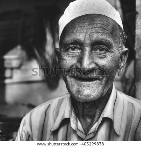 Happy Indian Man Smiling Asian Character Facial Concept - stock photo