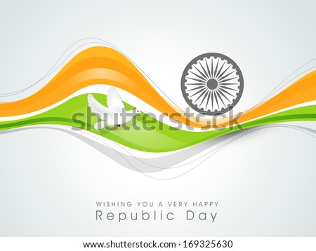 Happy Indian Republic Day concept with national flag colors wave, pigeons and Ashoka Wheel on grey background.  - stock photo
