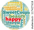 Happy info-text graphics and arrangement concept on white background (word cloud) - stock photo