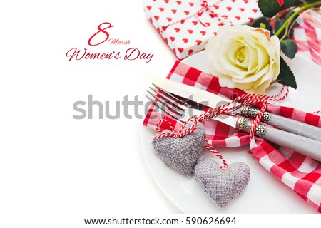 Happy International Womens Day, March 8, celebration greeting message with romantic table settings