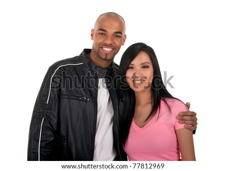 Happy interracial couple - Asian girl with African American boyfriend. - stock photo