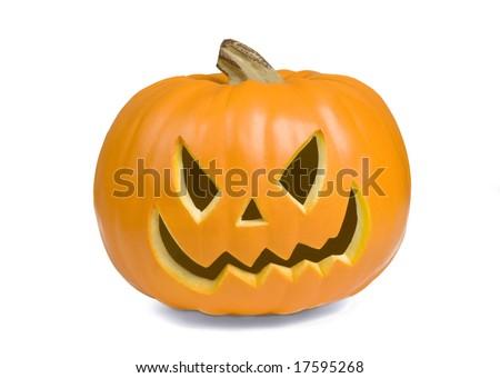 Happy Jack O' Lantern on White Background - stock photo