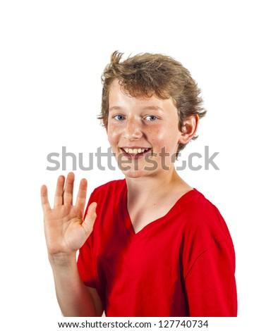 happy joyful boy gives sign - stock photo