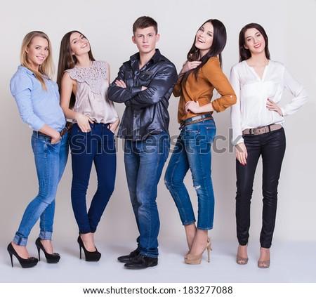 Happy joyful group of friends - stock photo