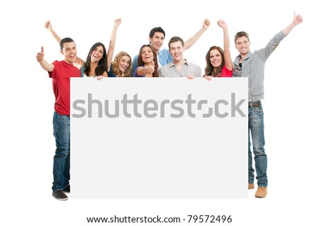 Happy joyful large group of friends displaying white placard for your text isolated on white background