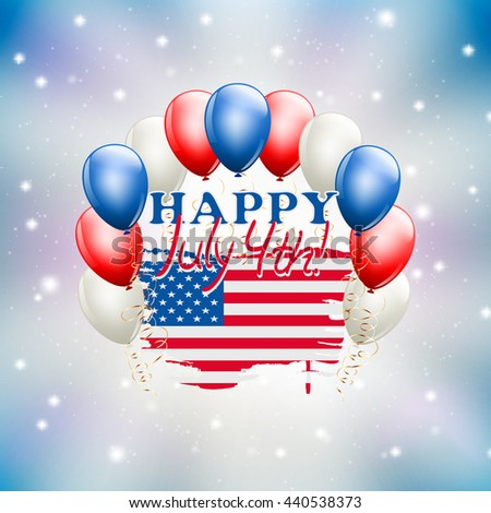 Happy July 4th celebration illustration USA independence day theme. raster