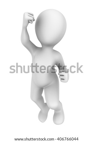 Happy jump of 3d person. 3d illustration.