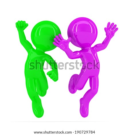 Happy jumping couple. Isolated. Contains clipping path - stock photo