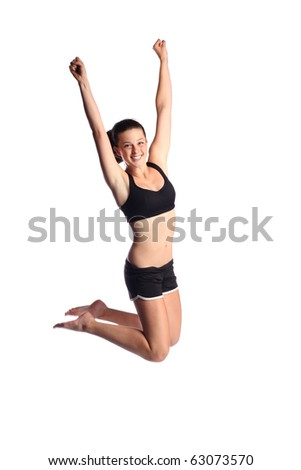Happy  jumping workout woman