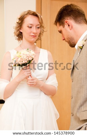 Happy just married couple - stock photo
