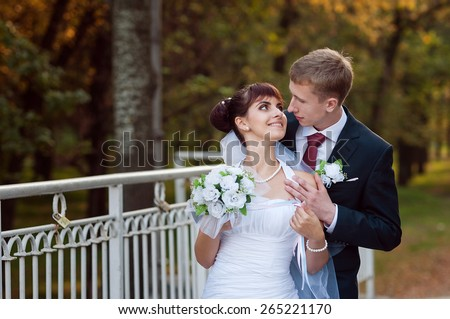 Happy just married couple standing on the small bridge - stock photo