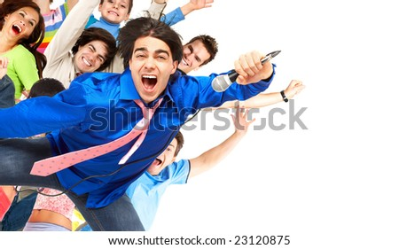 Happy karaoke signer. Isolated over white background