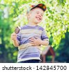 happy kid boy eating ice cream - stock photo