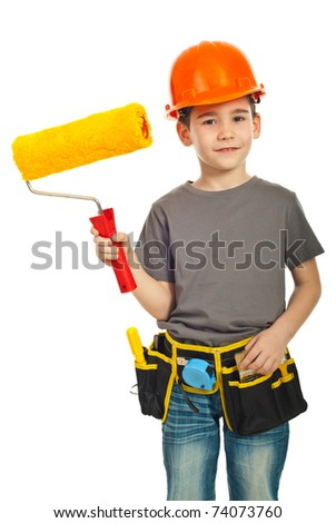 Happy kid boy with helmet holding paint roller isolated on white background - stock photo