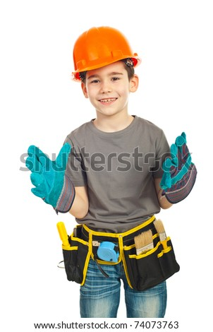 Happy kid boy with helmet  wearing big protective gloves and laughing isolated on white background - stock photo