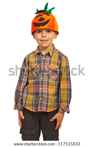 Happy kid boy with pumkin hat isolated on white background