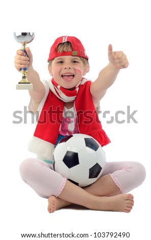 Happy kid girl believe for championship of Polish football team - stock photo
