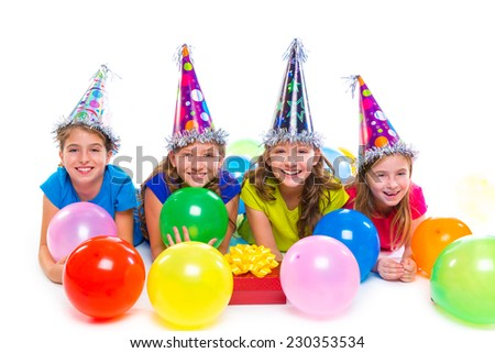 Happy kid girls birthday party balloons and gift box on white background - stock photo