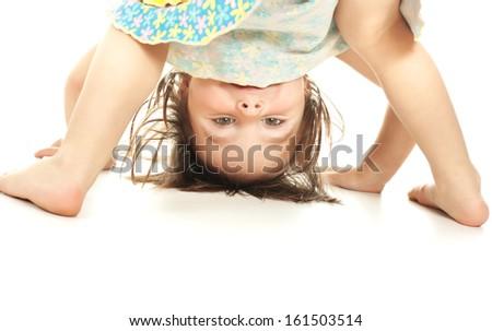 Happy kid, isolated on white background - stock photo