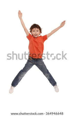 happy kid jumping in the air