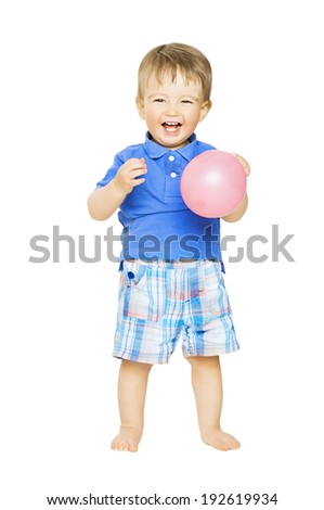 Happy kid little boy with balloon. Child smiling isolated over white background  - stock photo