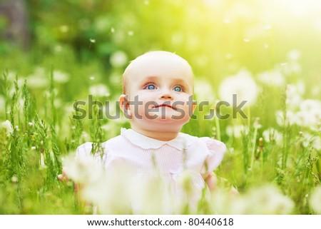 happy kid on the field - stock photo