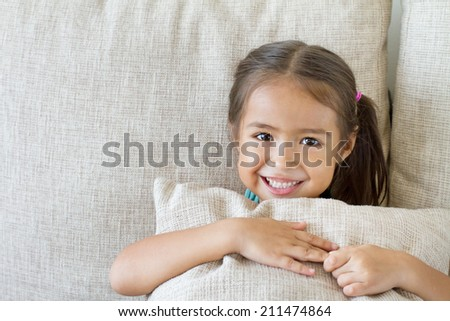 happy kid playing, smiling - stock photo