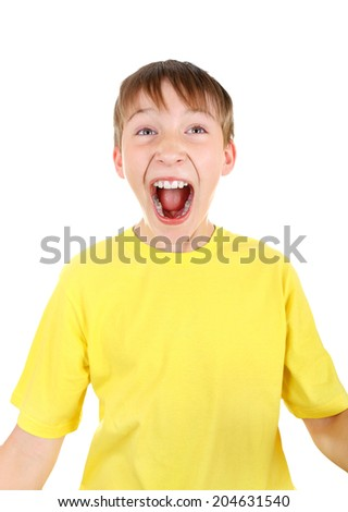 Happy Kid screaming Isolated on the White Background - stock photo