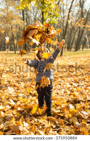 Happy kid tossing autumn leaves in park in sunny day