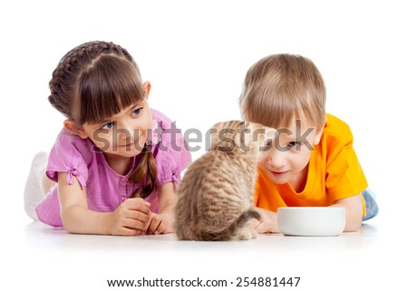 happy kids boy and girl feed cat kitten