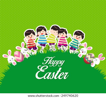 Happy kids easter eggs play bunny cute - stock photo