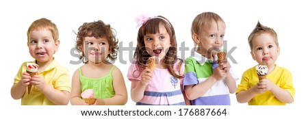 happy kids group with ice cream isolated - stock photo