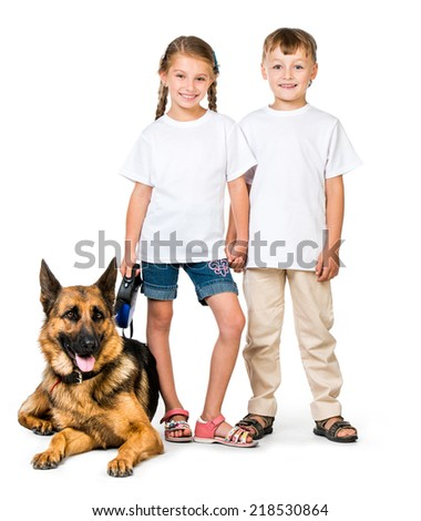 happy kids in white t-shirts with a dog isolated - stock photo