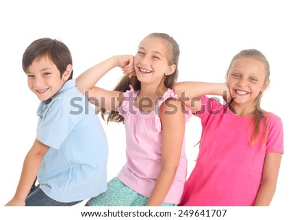 happy kids on a white background