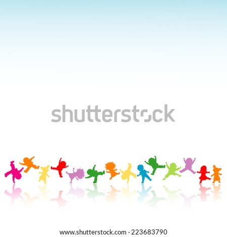 happy kids playing an jumping; silhouette illustration - stock photo