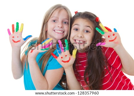happy kids playing paint with paint - stock photo