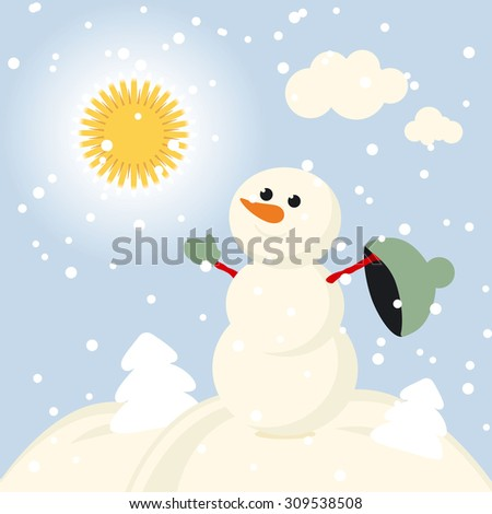 Happy kids playing with snow. Can be used for retro christmas card. illustration. - stock photo