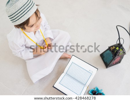 Happy kids ready for Ramadan - stock photo