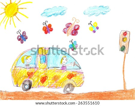 Happy kids ride on car and smiling. - stock photo