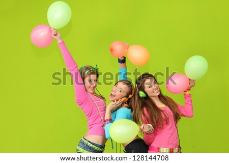 happy kids singing at party - stock photo