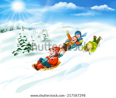 Happy kids sledding, winter fun - snow and friends. Digital illustration. Copy space - stock photo