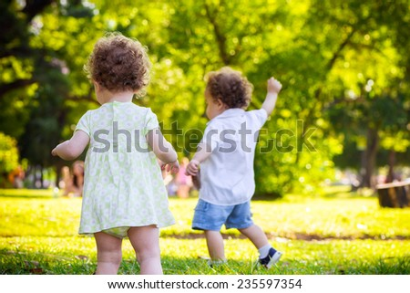 happy  kids twin - stock photo
